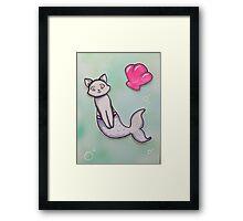 Kitty cat mermaid  Framed Print
