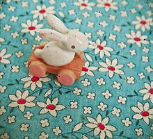 Bunny on Blue by Cassia