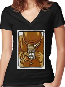 The photographer Women's Fitted V-Neck T-Shirt