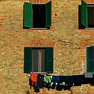 Panicale windows in morning light, Umbria, Italy by Andrew Jones