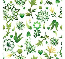 - Green watercolor pattern - Photographic Print