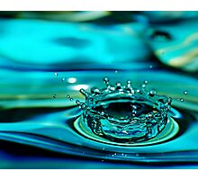Blue Water Drop Crown Photographic Print