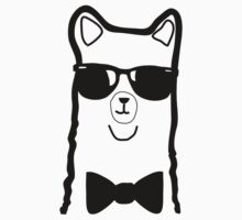 Hipster Alpaca – Face Close Up - Cute Kids Cartoon Character Kids Tee