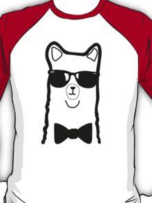 Hipster Alpaca – Face Close Up - Cute Kids Cartoon Character T-Shirt