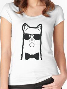 Hipster Alpaca – Face Close Up - Cute Kids Cartoon Character Women's Fitted Scoop T-Shirt