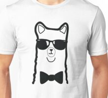 Hipster Alpaca – Face Close Up - Cute Kids Cartoon Character Unisex T-Shirt
