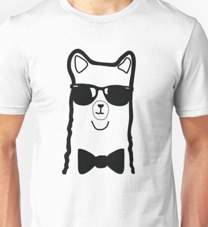 Hipster Alpaca – Face Close Up - Cute Kids Cartoon Character Unisex T-Shirt