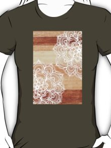 White Doodles on Blonde Wood T-Shirt