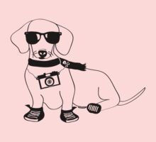Hipster Dachshund - Cute Dog Cartoon Character - Sausage Dog - Weiner Dog Kids Clothes