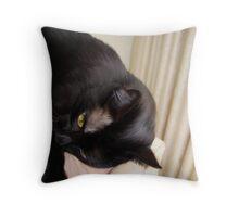 Black Cat Lounging Throw Pillow