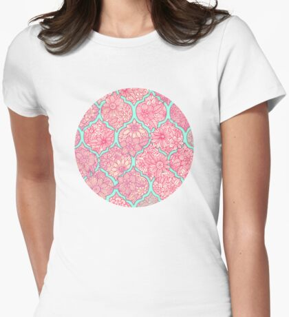 Moroccan Floral Lattice Arrangement - pink Womens Fitted T-Shirt