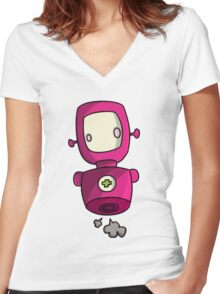 ROBOT PINK Women's Fitted V-Neck T-Shirt
