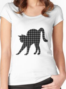 Black Cat Optical Illusion Effect Women's Fitted Scoop T-Shirt