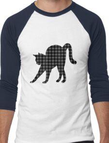 Black Cat Optical Illusion Effect Men's Baseball ¾ T-Shirt
