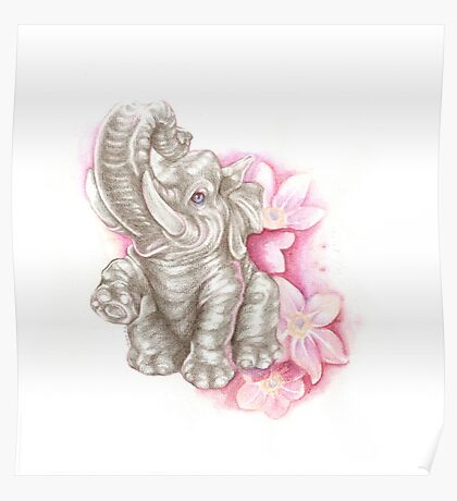 Blue eyes elephant, don´t forget me Poster