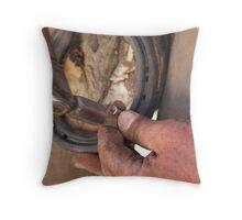 Hands of a farrier 3 Throw Pillow