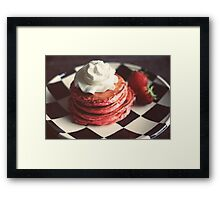 Pink pancakes kissed with chocolate chips and whipped cream Framed Print