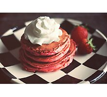 Pink pancakes kissed with chocolate chips and whipped cream Photographic Print
