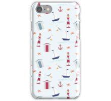 Vintage red blue nautical summer beach pattern iPhone Case/Skin