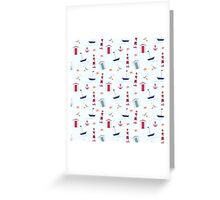 Vintage red blue nautical summer beach pattern Greeting Card
