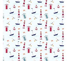Vintage red blue nautical summer beach pattern Photographic Print