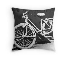 Bicycle  after snow fall Throw Pillow