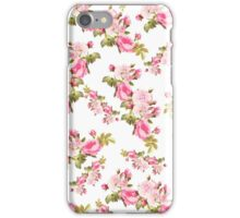 Vintage pink green pastel floral pattern  iPhone Case/Skin