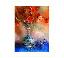 Poppies and Glass Marbles Art Print