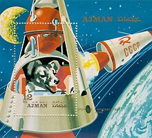 Russian stamp art Dog in space by Nathan Wallace