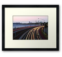 Kwinana Freeway Traffic At Dusk  Framed Print