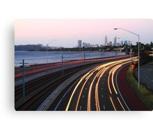 Kwinana Freeway Traffic At Dusk  Canvas Print