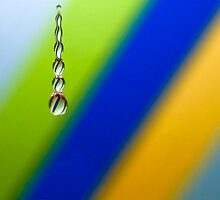 Water Beads on Blue, Yellow and Green Diagonal Stripes by Wendy Kennedy