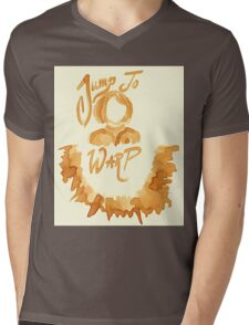 Jump To Warp - Captain Coffee - Coffee Wash Mens V-Neck T-Shirt