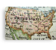 USA on Map Canvas Print