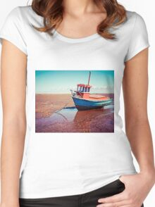 Fishing boat, Meols, Wirral Women's Fitted Scoop T-Shirt