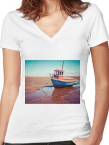 Fishing boat, Meols, Wirral Women's Fitted V-Neck T-Shirt