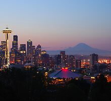 Seattle Skyline at Dawn by Jennifer Hulbert-Hortman