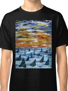 Rainbow Finned Sharks at Sunset Classic T-Shirt