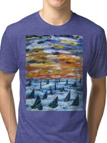 Rainbow Finned Sharks at Sunset Tri-blend T-Shirt