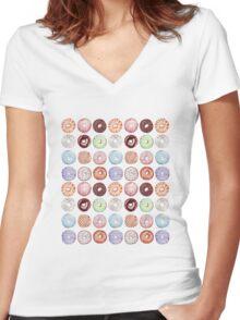 Hipster Donut Tiled Design Women's Fitted V-Neck T-Shirt