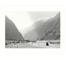 Mule train in valley Art Print