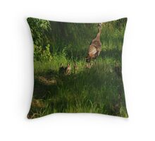 Baby Turkeys with Mom Throw Pillow
