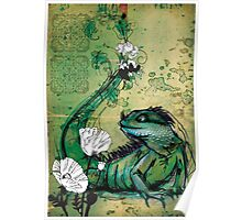 Green Iguana- Mixed Media Poster