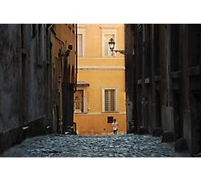 Orange Wall in a Roman Streetscape Photographic Print