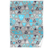 Summer Turquoise Triangles on Grey Poster