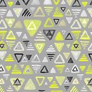 Summer Yellow Triangles on Grey by micklyn