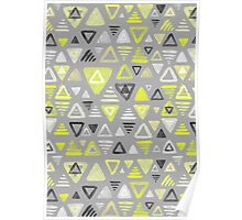 Summer Yellow Triangles on Grey Poster