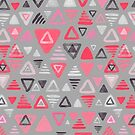 Summer Melon Hot Pink Triangles on Grey by micklyn