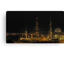 RRS Discovery at  night Canvas Print