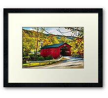 Red Covered Bridge in the Green Mountains Framed Print